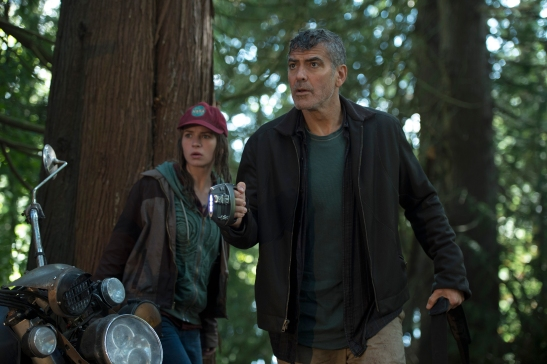 Disney's TOMORROWLAND..L to R: Casey (Britt Robertson) and Frank (George Clooney)..Ph: Kimberley French..©Disney 2015