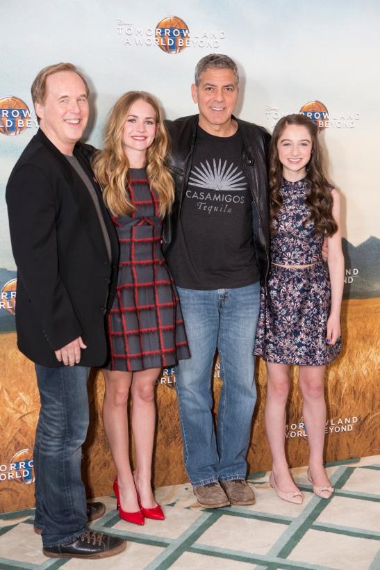 "Brad Bird, Britt Robertson, George Clooney and Raffey Cassidy attend the European photo call of Disney's ""Tomorrowland: A World Beyond"" on May 18 in London, UK (Credit: James Gillham/ StingMedia.co.uk"