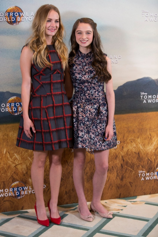 """Actresses Britt Robertson and Raffey Cassidy attend the European photo call of Disney's """"Tomorrowland: A World Beyond"""" on May 18 in London, UK (Credit: James Gillham/ StingMedia.co.uk"""