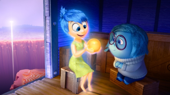 """Joy (voice of Amy Poehler) and Sadness (voice of Phyllis Smith) catch a ride on the Train of Thought in Disney?Pixar's """"Inside Out."""" Directed by Pete Docter (?Monsters, Inc.,? ?Up?), """"Inside Out"""" opens in theaters nationwide June 19, 2015. ?2014 Disney?Pixar. All Rights Reserved."""
